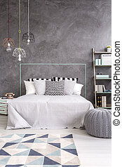 Bedroom with modern look - Grey bedroom with carpet, stylish...