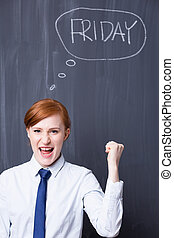 Friday is here - let's shout yeah! - Portrait of a young...