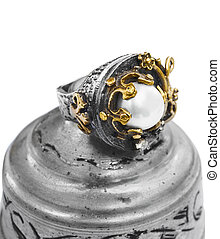 gold and silver  Turkish Ottoman ring with pearl