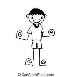 Doodle man emotion icon hand draw illustration design