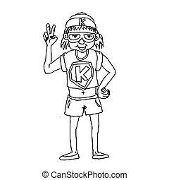 doodle kid super hero cartoon icon hand draw illustration design