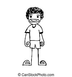Doodle man emotion icon hand draw illustration design