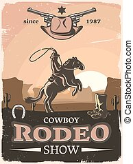 Wild West Poster - Vintage wild west poster with cowboy...