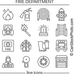 Fire Department Linear Icons Set - Fire department linear...
