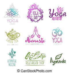 Sketch Yoga Logo Set - Sketch yoga logo set with yoga studio...