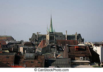 Lausanne, Switzerland - Lausanne city view. Old town....