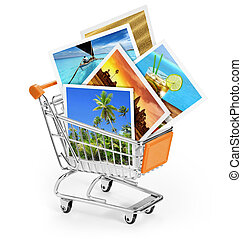 travel photos in a shopping cart on white background