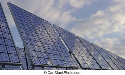 Modern solar panels reflecting cloudy sky. Renewable...