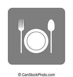 plate with fork and spoon icon