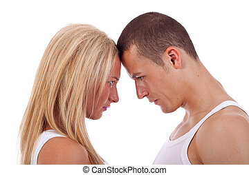 couple having an argument - couple going head to head in an...