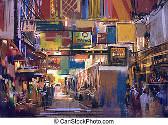 painting of colorful street market