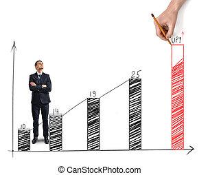 Businessman standing alongside a bar graph