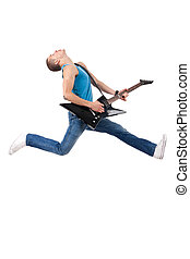 Awesome guitar player jumps with passion in studio , over...