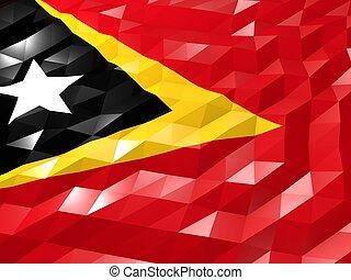 Flag of Timor-Leste 3D Wallpaper Illustration, National...