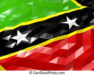 Flag of Saint Kitts and Nevis 3D Wallpaper Illustration