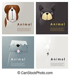 Animal portrait collection with dogs 3