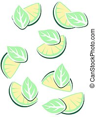 Lime. - lime with a leaf.Vector illustration.