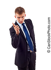 i\'m warning you! - Businessman pointing a finger as gesture...