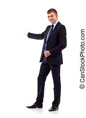 businessman presenting - Happy business man presenting and...