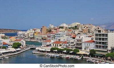 Crete. Greece. Agios Nikolaos. Lake Voulismeni. Panorama. -...