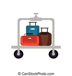 luggage cart icon - flat design luggage cart icon vector...