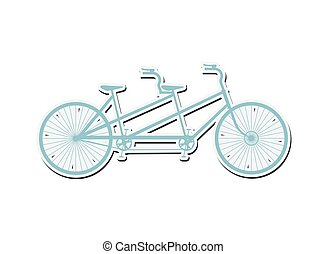 tandem bicycle icon - flat design tandem bicycle icon vector...