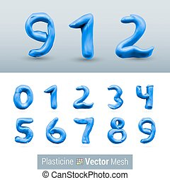 Set of Color Plasticine Figure - Numeral Dark Blue Color...
