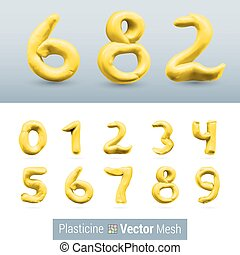 Set of Color Plasticine Figure - Numeral Yellow Color...
