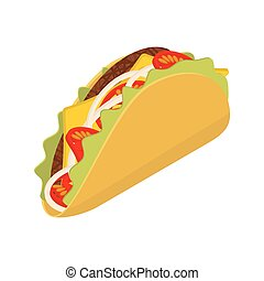 Taco isometrics on white background. Traditional Mexican...
