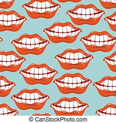 Cheerful smile lip seamless pattern. Red lips and white...