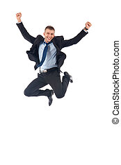 happy businessman jumping - Portrait of a happy businessman...