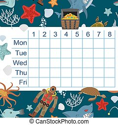 Schedule for students. timetable with lessons for children. design of underwater world: Shark and Whale. Diver and turtle. Submarine and corals