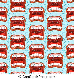 Yells lips seamless pattern. outcry background. aggressive...