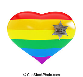 homosexual police on white background 3d Illustrations