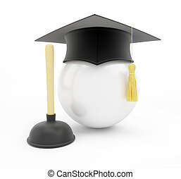 plumbers school graduation cap on white background. 3d Illustrations