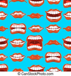 Mouth emotions seamless pattern. Red lips ornament....