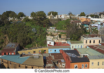 Historic Valparaiso - Colourfully decorated houses crowd the...