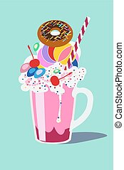 Glass with a milkshake with a whipped cream, with a donut...