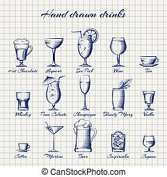 Set of popular drinks vector. Hand drawn alcoholic and...