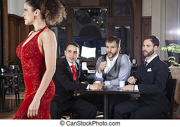 Pervert Customers Looking At Tango Dancer In Restaurant -...