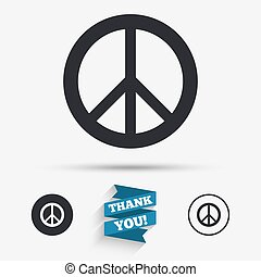 Peace sign icon Hope symbol Antiwar sign Flat icons Buttons...