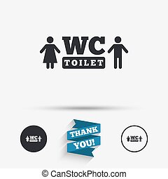 WC Toilet sign icon Restroom symbol - WC Toilet sign icon...