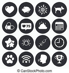 Veterinary, pets icons Dog paw, syringe signs - Calendar,...