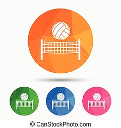 Volleyball net ball icon. Beach sport symbol - Volleyball...