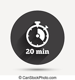 Timer sign icon. 20 minutes stopwatch symbol. Circle flat...