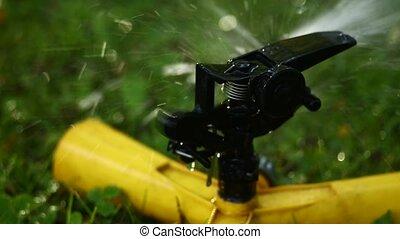 Garden sprinkler. Selective focus. - Close-up on a sprinkler...
