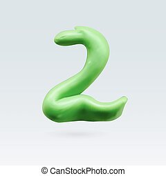 Color Plasticine Figure - Number Two Green Color Isolated on...