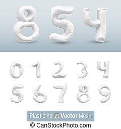 Set of Color Plasticine Figure - Numeral White Color...