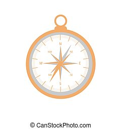 Stylized icon of a colored compass on a white background