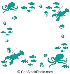 Interesting picture with the various inhabitants of the seas...